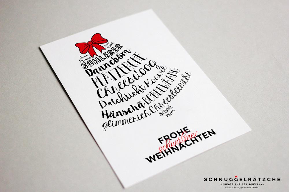 Postkarte Weihnachten Schwälmer Wörter Glocke