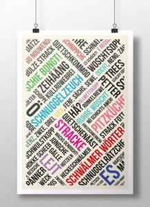 Poster Schwälmer Wörter Modern Bunt