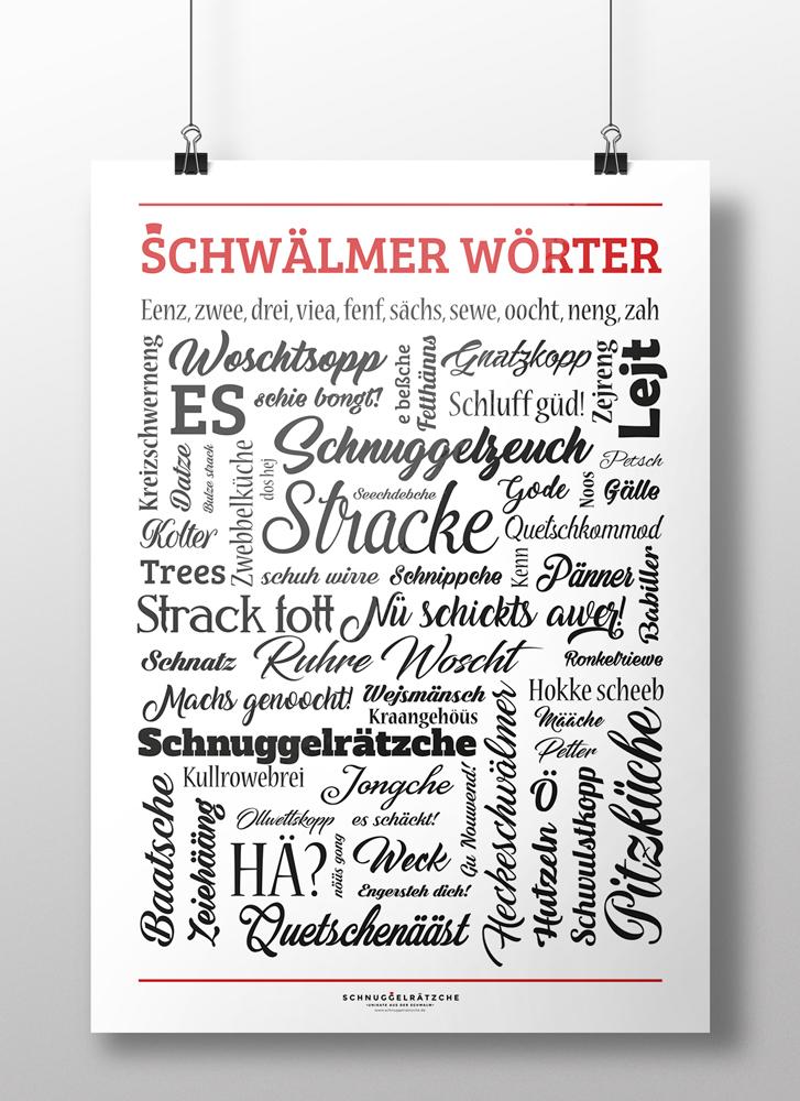 Poster Schwälmer Wörter Schwarz Weiß Rot