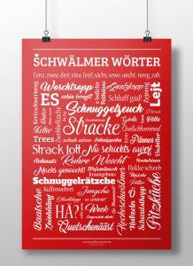 Poster Plakat Schwälmer Wörter Rot