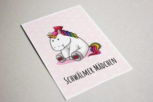 Postkarte Schwälmer Mädchen Einhorn