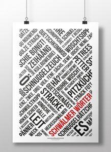 Poster Schwälmer Wörter Modern Schwarz Weiß