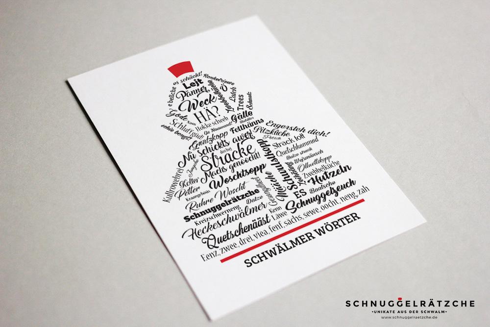 Postkarte Schwälmer Mädchen aus Schwälmer Wörtern